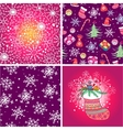 Set of four Christmas seamless pattern vector image vector image