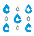 Set of hand-painted blue water drop icons isolated vector image