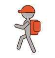 silhouette man hiking orange cap bag vector image