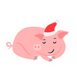 sleeping pink new year pig vector image vector image