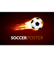 soccer ball banner with fire ball in motion vector image vector image