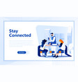 social network flat web page design template vector image