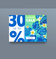 summer sale tropical ad poster with exotic vector image vector image