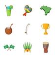 Symbols of Brazil icons set cartoon style vector image vector image