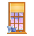 the window overlooking pink sky and the vector image vector image