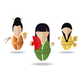 Three Asian girl vector image vector image