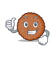 thumbs up chocolate biscuit character cartoon vector image vector image