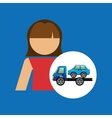 Towing truck girl design graphic vector image