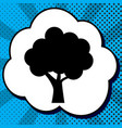 tree icon black icon in bubble on blue vector image vector image