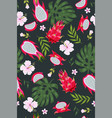 tropical seamless pattern with pitaya leaves vector image