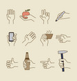 vintage hand line icons with bottle cup vector image
