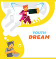 youth girl dream for singer star background vector image vector image