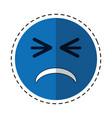 cartoon unhappy face emoticon funny vector image