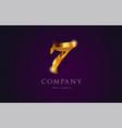 7 seven gold golden number numeral digit logo vector image vector image