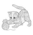 adult coloring bookpage a cute cat playing vector image vector image