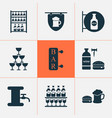 alcohol icons set with bar hanging banner stand vector image