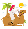 arab cameleer riding a camel flat style vector image