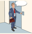 Businessman pressing elevator button pop art