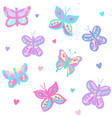 butterflies with hearts pastel vector image vector image