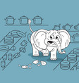 cartoon of a funny clumsy elephant in a china shop vector image vector image