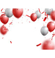 celebrations banner with red and silver balloon vector image vector image