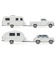 classic cars with rv camping trailers side view vector image