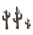 colored doodle cactus vector image