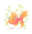 cute cartoon goldfish in an aquarium vector image