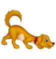 Cute dog cartoon sniffing vector image
