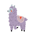 Cute llama adorable lilac alpaca animal character