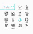 diabetes - line design style icons set vector image