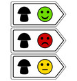 direction sign for mushrooms with smileys vector image vector image