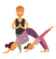 family does yoga exercises together isolated vector image