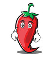 flat face red chili character cartoon vector image