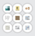 flat icon games set of labyrinth chess table vector image