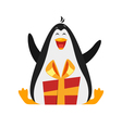 flat style of penguin with gift vector image