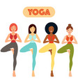 girl practicing yoga - hand drawn vector image