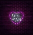 girls power sign in neon style glowing symbol of vector image vector image