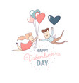 happy valentines day greeting card couple love vector image vector image