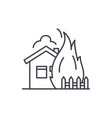 house fire line icon concept house fire vector image vector image