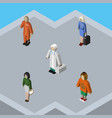 isometric person set of pedagogue cleaner lady vector image vector image