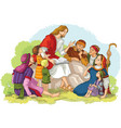 jesus preaching to group of people children vector image vector image
