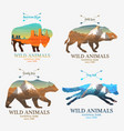 mountains and boar bear fox buffalo silhouette vector image