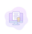 online certification icon with outline vector image vector image