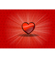 red heart on the shining background vector image vector image