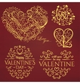 Set of Calligraphic Valentines Day design elements vector image vector image