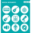 set of round icons white Musical instruments vector image vector image