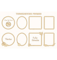 Set of Thanksgiving frames with hand drawn vector image