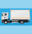 white delivery van isolated on blue background vector image