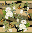 white peonies and butterflies vector image